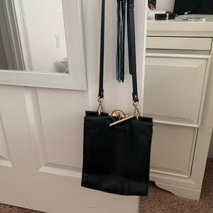Black crossbody leather purse